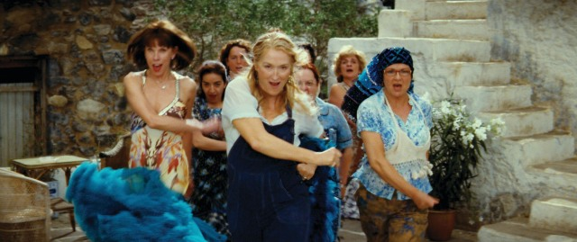 Donna and The Dynamos--(L to R) Tanya Chesham-Leigh (CHRISTINE BARANSKI), Donna Sheridan (MERYL STREEP) and Rosie Rice (JULIE WALTERS)--lead the Greek chorus in the musical romantic comedy ?Mamma Mia!?