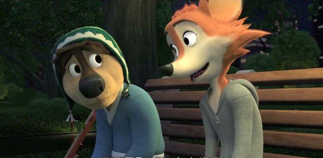 Bodi conversa com a amiga raposa em um banco